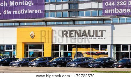 Zurich, Switzerland - 29 March, 2017: partial view of the building of the Renault Retail Group on Thurgauerstrasse street. Renault Retail Group company is responsible for the distribution of Renault production in Europe.