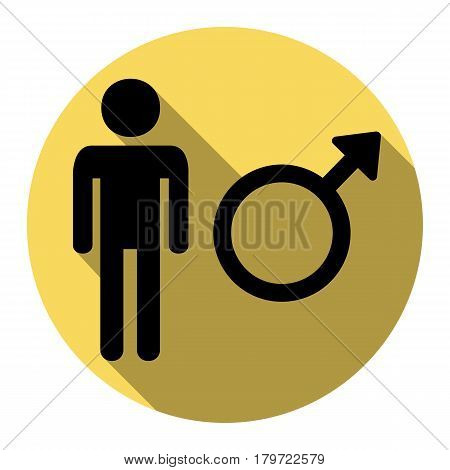 Male sign illustration. Vector. Flat black icon with flat shadow on royal yellow circle with white background. Isolated.
