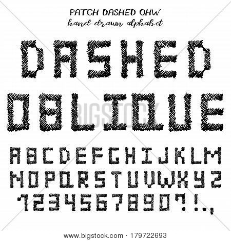 Hand drawn alphabet written grunge font with symbols in technique of oblique hatching: stylized black capital letters numbers and punctuation. Vector illustration