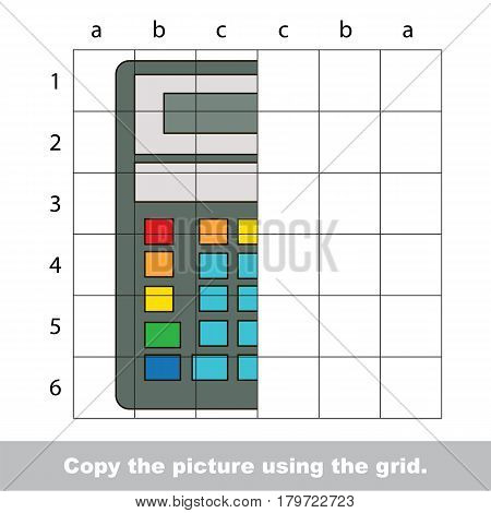 Finish the simmetry picture using grid sells, vector kid educational game for preschool kids, the drawing tutorial with easy gaming level for half of Calculator Tool