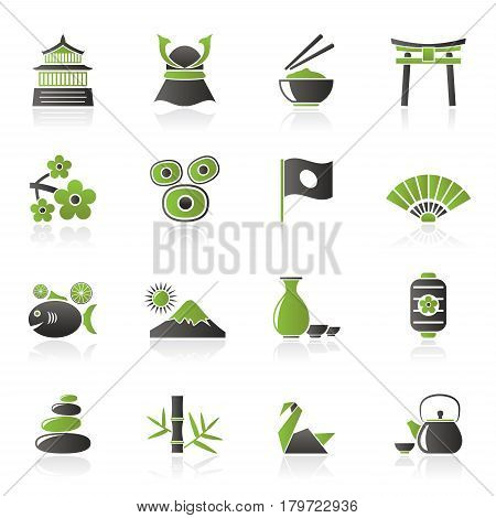 Typical Japan culture icons - vector icon set
