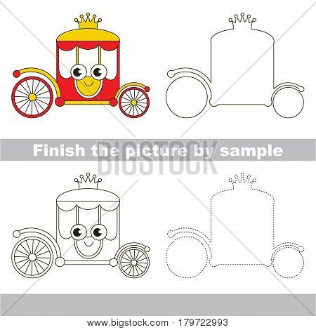 Drawing worksheet for preschool kids with easy gaming level of difficulty, simple educational game for kids to finish the picture by sample and draw the Red and Gold Chariot.