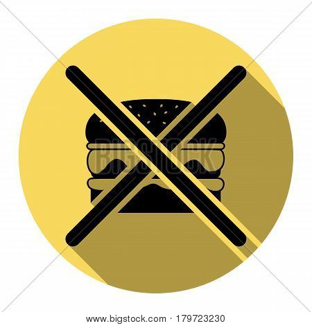 No burger sign. Vector. Flat black icon with flat shadow on royal yellow circle with white background. Isolated.