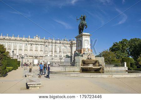 Madrid Spain - 18 May 2016: Monument of Felipe IV on Plaza de Oriente in Madrid Spain 18 May 2016
