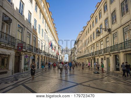 Lisbon Portugal - 17 May 2016: View to Rua Augusta street and triumphal arch Lisbon Portugal 17 May 2016