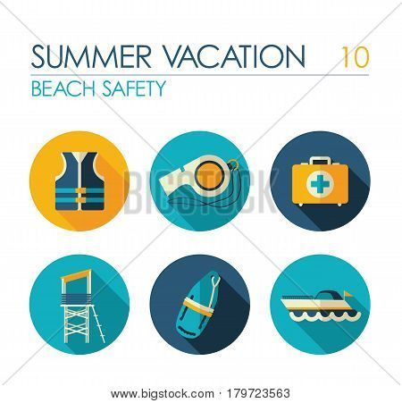Lifeguard beach safety vector flat icon set. Summer time. Vacation