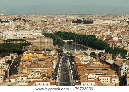 Rome city panoramic view from top of St. Peterâ??s Basilica in Vatican City.