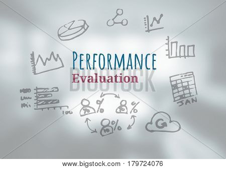 Digital composite of Performance Evaluation text with drawings graphics
