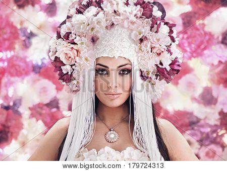 Fashion style portrait of a brunette beauty