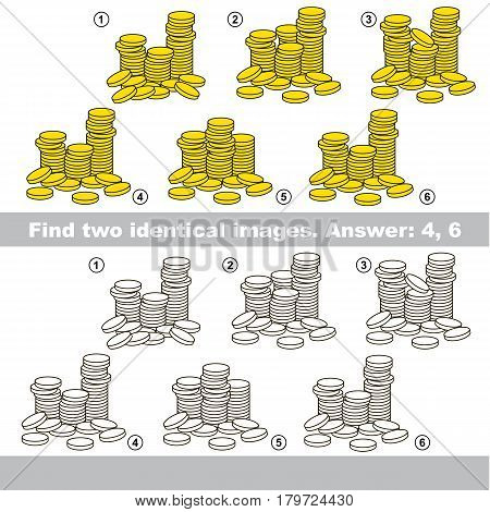 The educational kid matching game for preschool kids with easy gaming level, he task is to find similar objects, to compare items and find two same A lot of cash gold coins