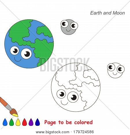 Funny Earth Planet and Moon to be colored, the coloring book for preschool kids with easy educational gaming level.