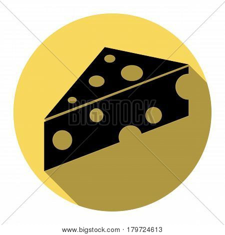 Cheese Maasdam sign. Vector. Flat black icon with flat shadow on royal yellow circle with white background. Isolated.