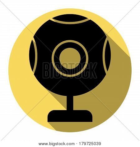 Chat web camera sign. Vector. Flat black icon with flat shadow on royal yellow circle with white background. Isolated.