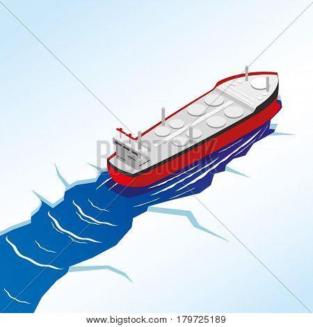 Illustration of oil tanker in the sea.