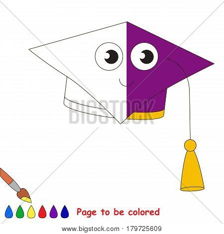 Educational Square Degree Hat, the coloring book to educate preschool kids with easy gaming level, the kid educational game to color the colorless half by sample.