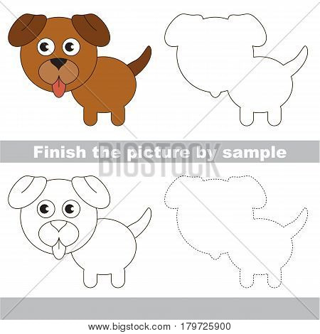 Drawing worksheet for preschool kids with easy gaming level of difficulty, simple educational game for kids to finish the picture by sample and draw the Brown Dog Puppy