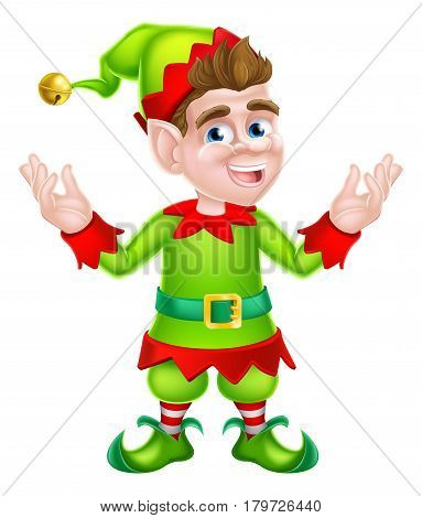 Cute cartoon Christmas Elf or one of Santa s Christmas helpers