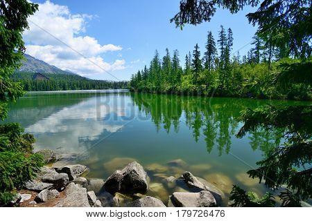 Summer in High Tatras Mountains. High Tatry. Slovakia. Vysoke Tatry.. Strbske pleso. Strebske Pleso lake.