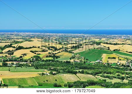 Countryside in Montefiore Conca view to Rimini and Adriatic Sea (near Monte Titano and San Marino) Emilia-Romagna Italy.