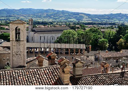 Medieval tiling roofs panorama and Palazzo dei Consoli in Gubbio Umbria Region Perugia Province / Metropolitan city Italy.