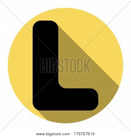 Letter L sign design template element. Vector. Flat black icon with flat shadow on royal yellow circle with white background. Isolated.