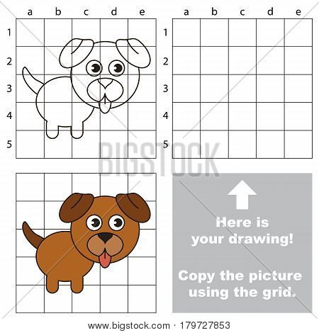 Copy the picture using grid lines, the simple educational game for preschool children education with easy gaming level, the kid drawing game with Brown Dog Puppy
