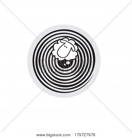 Vector sheep or ram in circle, icon, logo, template.