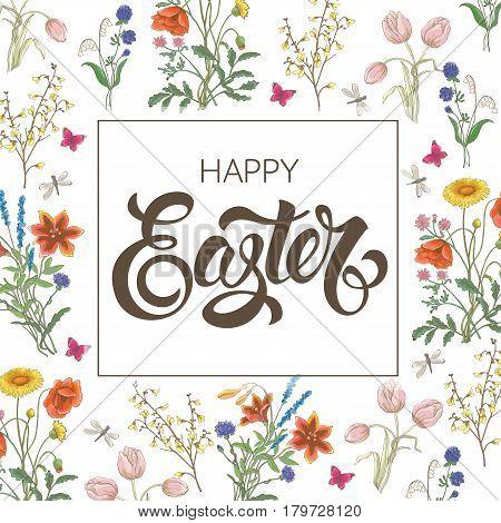 Happy Easter. Tulip, dandelion, cornflower, delicate flower, vector pattern. wildflowers, poppy, chamomile, background