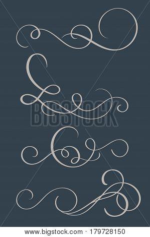 set of vintage flourish decorative art calligraphy whorls for design on dark background. Vector illustration EPS10.
