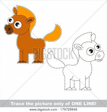 Cute Brown Horse. Dot to dot educational game for kids.