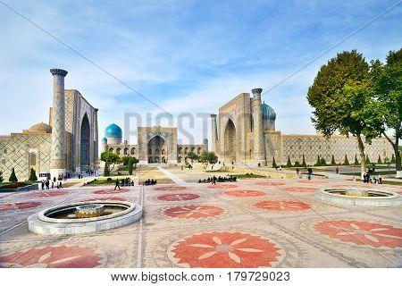 09 November 2013 Registan Square Shah-i-Zinda - UNESCO World Heritage Samarkand Uzbekistan