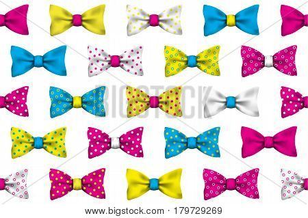 Colorful realistic vector bow tie seamless pattern on white background