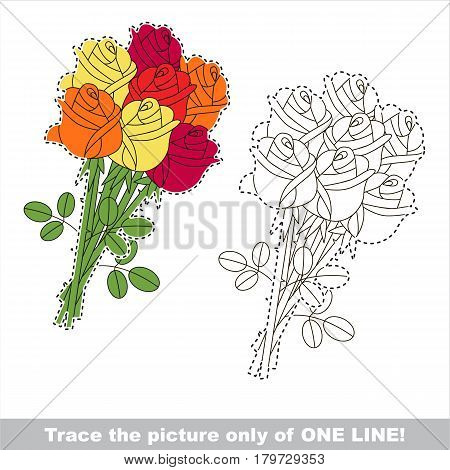 Orange and red and yellow rose bouquet. Dot to dot educational game for kids.