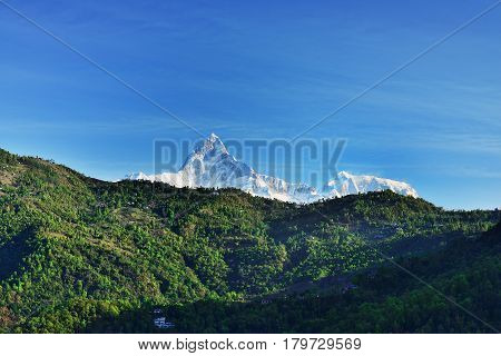 Mt. Machapuchare (fish tail) view from mt. Sarangkot Annapurna region Nepal
