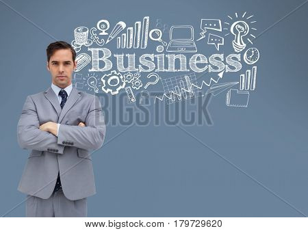 Digital composite of Businessman with business drawings graphics and text