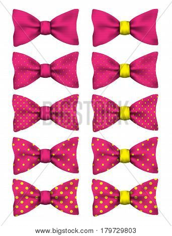 Pink bow tie with yellow dots set realistic vector illustration isolated on white background
