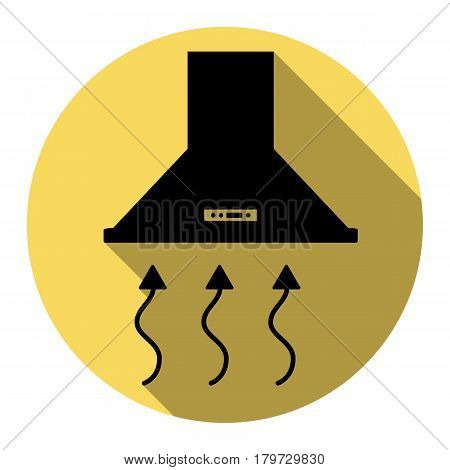 Exhaust hood. Range hood. Kitchen ventilation sign. Vector. Flat black icon with flat shadow on royal yellow circle with white background. Isolated.