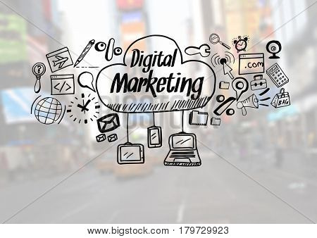 Digital composite of Digital Marketing text with drawings graphics
