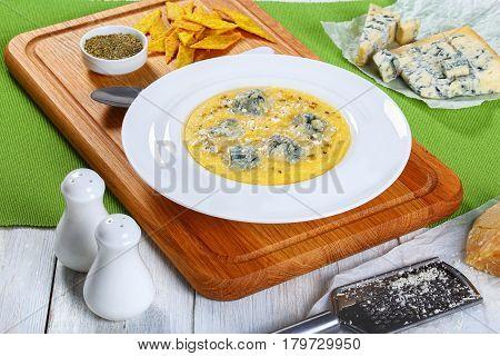 Gorgonzola Polenta Sprinkled With Parmesan, Close-up