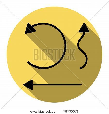 Simple set to Interface Arrows Vector. Flat black icon with flat shadow on royal yellow circle with white background. Isolated.