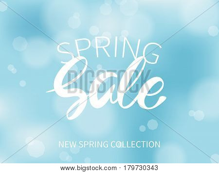 Advertisement about the spring sale on a blue blurred background. Vector illustration.