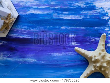 nautical hand drawn gouache background with starfish