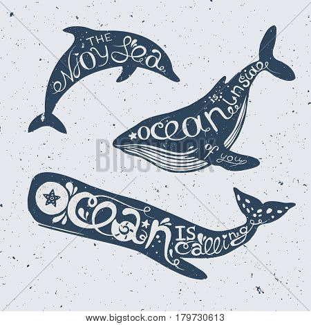 set of marine animals with lettering dolphin, cachalot and orca with hand drawn lettering, vector nautical illustration