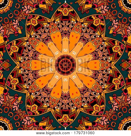 Seamless square pattern in style of North American Indians. Stylized pumkin. Flower- mandala. Lovely tablecloth.
