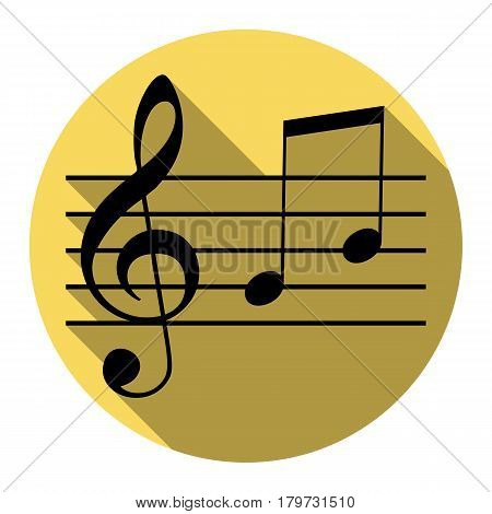Music violin clef sign. G-clef and notes G, H. Vector. Flat black icon with flat shadow on royal yellow circle with white background. Isolated.