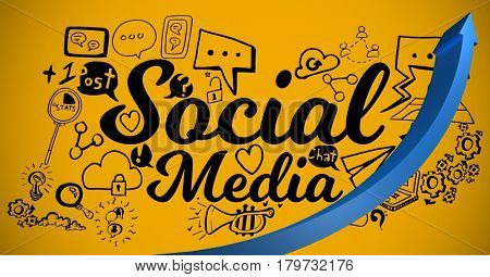 Digital composite of Blue arrow with black social media doodles against yellow background
