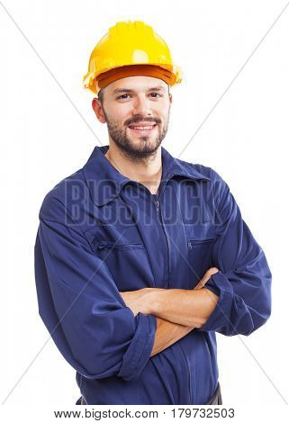 Young worker standing smiling on white background