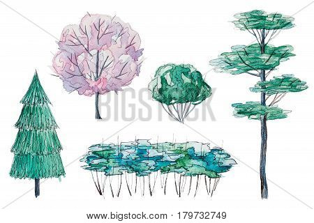 Set of hand drawn watercolor pictorial green and pink trees and shrubs, isolated on the white background for your landscape design