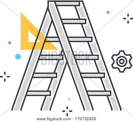 Color Line, Trowel Tools Concept Illustration, Icon