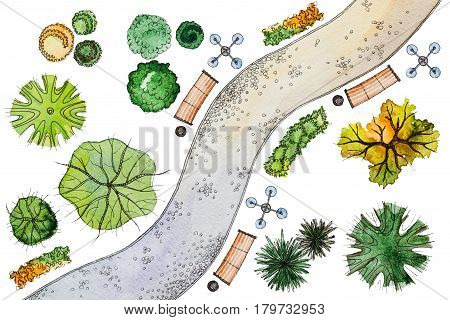 Set of hand drawn watercolor pictorial landscape design elements: different types of green, orange trees, shrubs, lanterns, benches and snaky sidewalk, isolated on the white background for landscape design